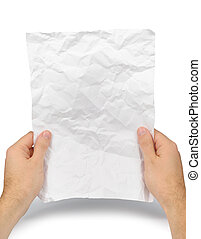 Crumple Before Read - Male hands with crumple sheet of paper...