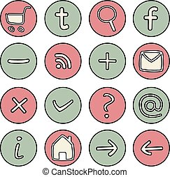 Vector hand drawn icons - Vector icons or buttons - doodle...