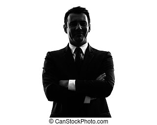 man silhouette - one caucasian man in silhouette on white...