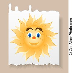 Piece of paper with yellow, smiling sun with blue eyes -...