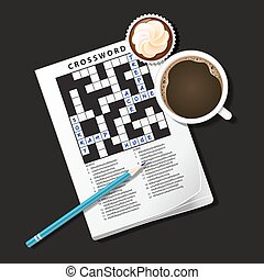 illustration of crossword game, mug of coffee and cup cake -...