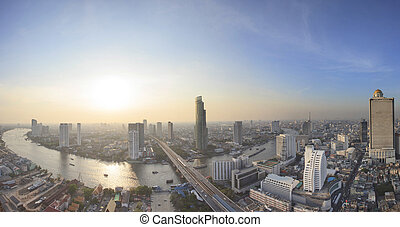 panorama view beautiful curve of chao phraya river and high...