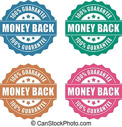 Money back guarantee icon on white background