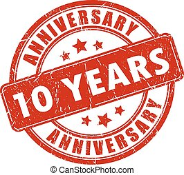 10 years anniversary stamp on white background