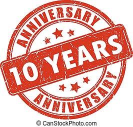 10 years anniversary stamp on white background