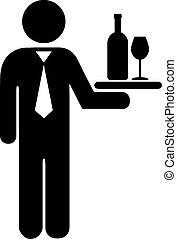 Waiter icon on white background