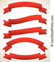Different horizontal banners in classic red colors Different...