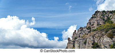Panoramic image of Mountain and blue sky