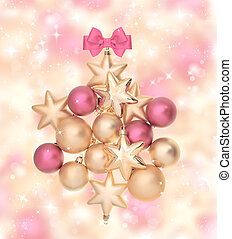 pink and golden balls with magical lights - composition from...