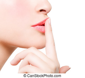 Pout - Female lips with finger