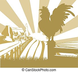 Rooster farm field landscape - An illustration of a farm...