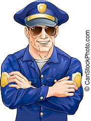 Happy policeman with sunglasses