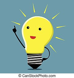 Light bulb character, insight - Light bulb character in...