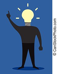 Man with light bulb instead of head, insight - Man with...