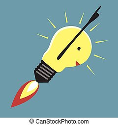 Jet-propelled lightbulb in moment of insight, EPS 8 vector...