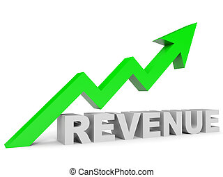 Graph up revenue arrow. 3D illustration.