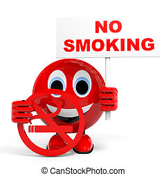 No smoking. Illustration with 3d character.