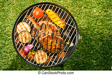 Healthy lean pork loin with veggies on a BBQ - Healthy lean...