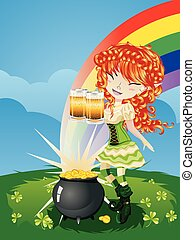 Leprechaun Girl on Grass Field - Pretty leprechaun girl on...