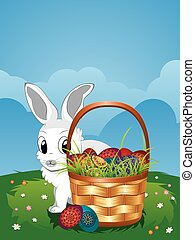 Easter Bunny with Eggs in the Baske