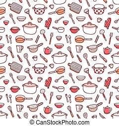 Kitchenware and cooking utensils doodle red palette seamless...