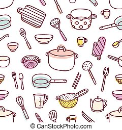Kitchenware and cooking utensils seamless pattern -...