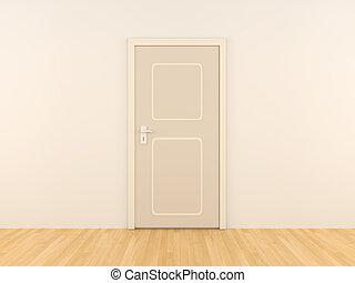Door - 3D rendered Interior. An empty room.
