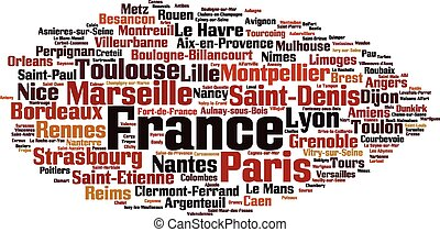 Cities in France word cloud concept Vector illustration