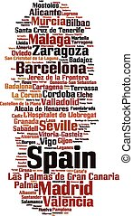 Cities in Spain word cloud concept Vector illustration
