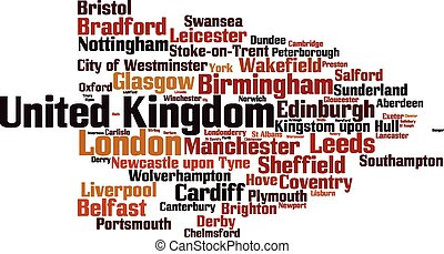 Cities in United Kingdom word cloud concept. Vector...