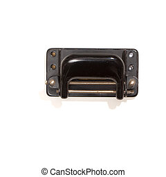 Old hole-puncher, top view, isolated on white - Vintage...