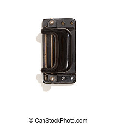 Vintage perforator, top view, isolated on white - Old...
