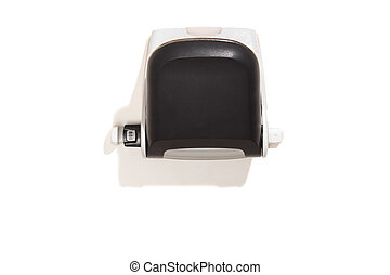 Hole puncher, black, top view, isolated on white - Black...