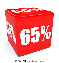 3D red sale cube 65 percent discount Illustation