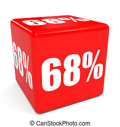 3D red sale cube. 68 percent discount. Illustation.