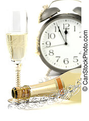 Happy new year background with champagne and Alarm clock