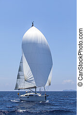 Sail Boat on Mediterranean Sea in Turkey.