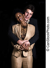 Mixed couple - Caucasian man and African American woman...