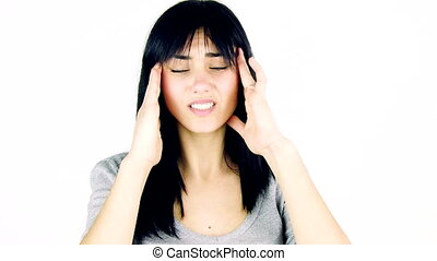 Woman with teeth problem headache