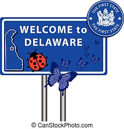 Road sign Welcome to Delaware