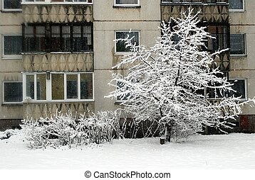 Winter snowfall in capital of Lithuania Vilnius city Seskine...