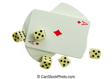Joker - playing-cards on a white background are a risk