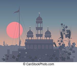 gurdwara at night - a vector illustration in eps 10 format...