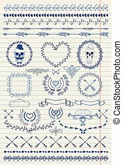 Pen Drawing Seamless Borders - Pen Drawing Handsketched...