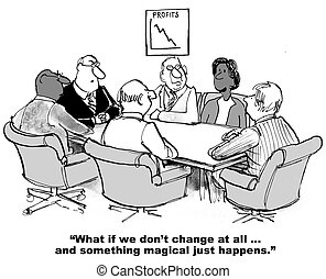 Resisting Change - Business cartoon on resisting change and...