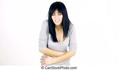woman with strong menstruation - Young woman with strong...