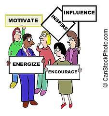 Motivate - Business cartoon on the characteristics of...