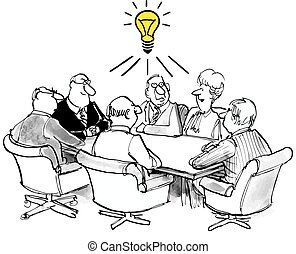 Innovation - Business cartoon of business meeting with a...