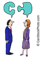 Solve Problem - Business cartoon where two businesspeople...