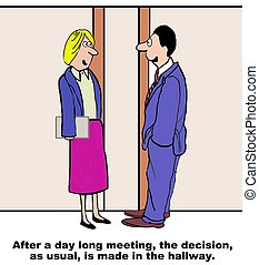 Hallway Decision - Business cartoon highlighting how often...
